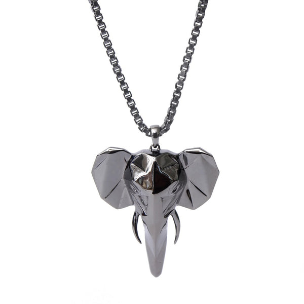 The Robust Elephant's Head Facet Pendant With Box Chain