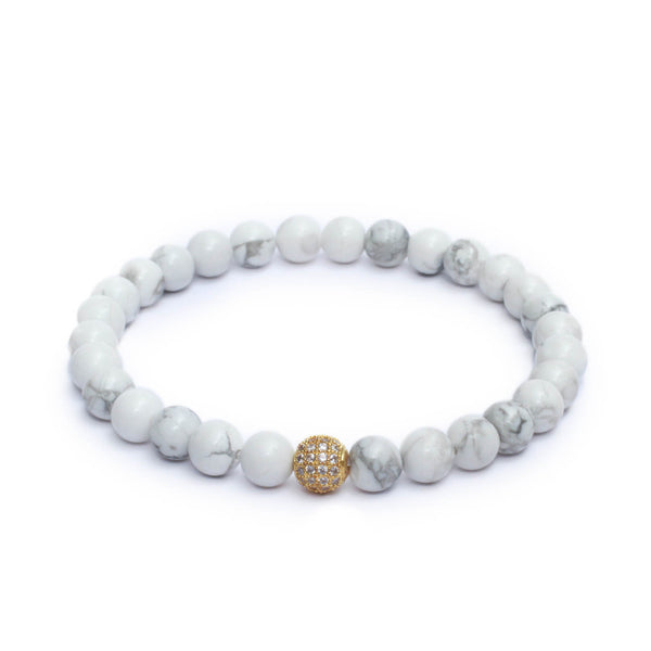 8mm Link Bracelet in Gemstones & Gold Plated White CZ Bead