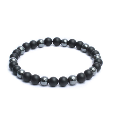8mm Two Tone Link Bracelet with Black Onyx, Hematite Gemstones