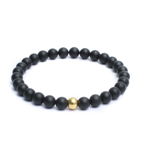 8mm Link Bracelet in Gemstones & Gold Plated Steel Bead