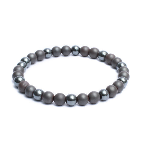 8mm Two Tone Link Bracelet with Hematite Gemstones
