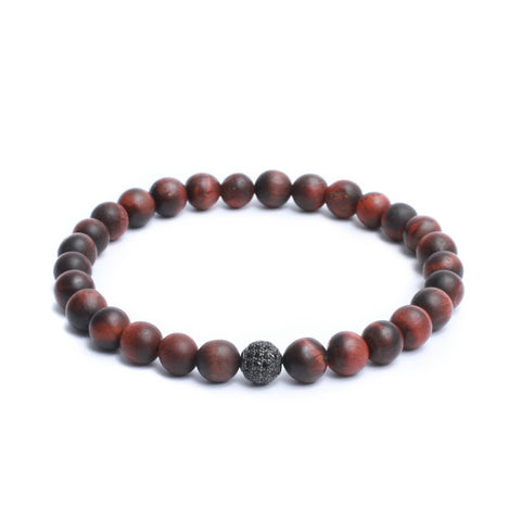 8mm Link Bracelet in Matte Red Tiger Eye Gemstones & Black Plated CZ Bead