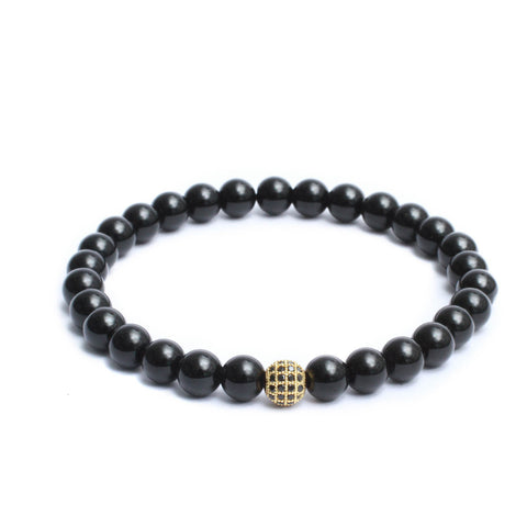 8mm Link Bracelet in Gemstones & Gold Plated Black CZ Bead