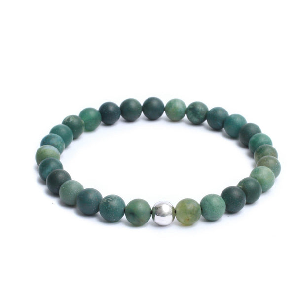 8mm Link Bracelet in Gemstones & Silver Plated Steel Bead