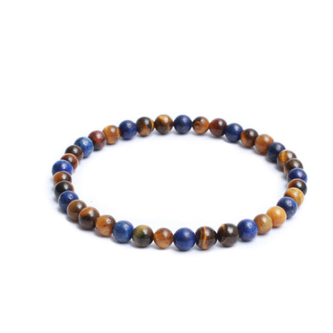 6mm Two Tone Link Bracelet with Yellow Tiger Eye, Lapis Lazuli Gemstones