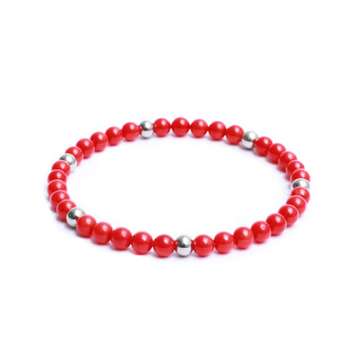 6mm Link Bracelet in Red Coral Gemstones