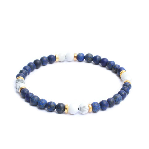 Multi Stopper Link Bracelet in Lapis Lazuli, Howlite Gemstone Beads