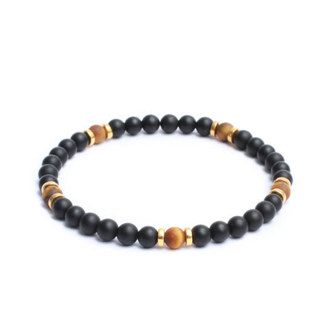 Multi Stopper Link Bracelet in  Black Onyx , Yellow Tiger Eye Gemstones