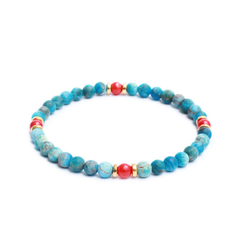 Multi Stopper Link Bracelet in Apatite, Red Coral Gemstones