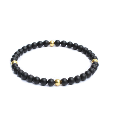 6mm Link Bracelet in Gemstones & Gold Plated Steel Beads