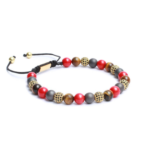 The Macrame Drawstring Styled Bracelet in Hematite, Yellow Tiger Eye, Red Coral Gemstone