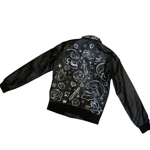 Custom Hand Painted Leather Jacket - Jacket