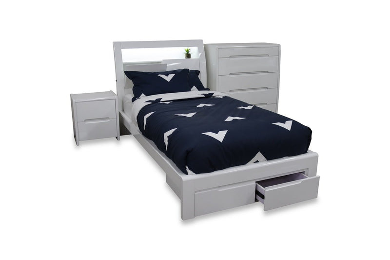 alaska storage kids bed hi gloss white