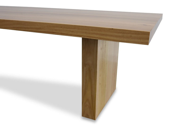 astina dining table with timber panel legs australian messmate