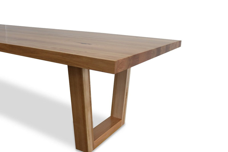 astina dining table with timber hoop legs australian messmate