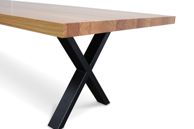astina dining table with black metal x legs australian messmate