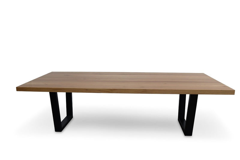 astina dining table with black metal legs australian messmate