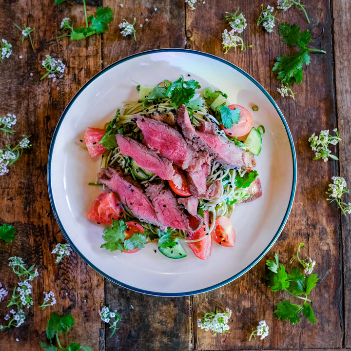 Seared Beef and Green Tea Noodles Salad