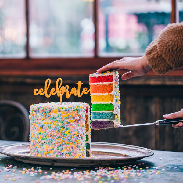 Rainbow Layered Confetti Cake