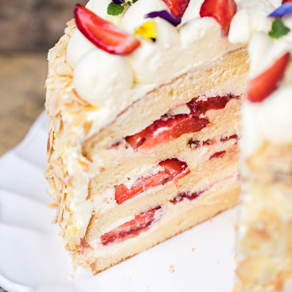 Strawberries & Cream Chiffon Cake
