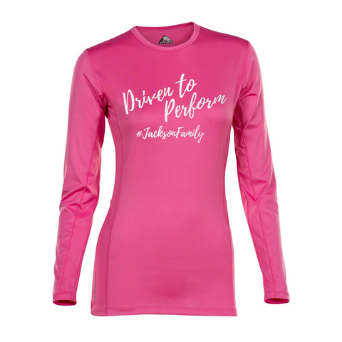 Womens Driven to Perform Velocity Long Sleeve (Fuchsia)