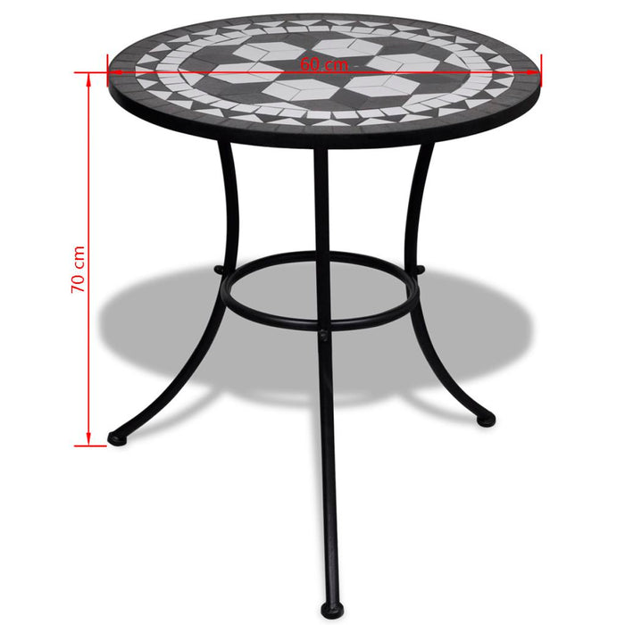 Black and white bistro table dimensions