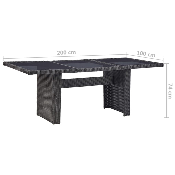 Garden Dining Table Black 200x100x74 cm Glass and Poly Rattan