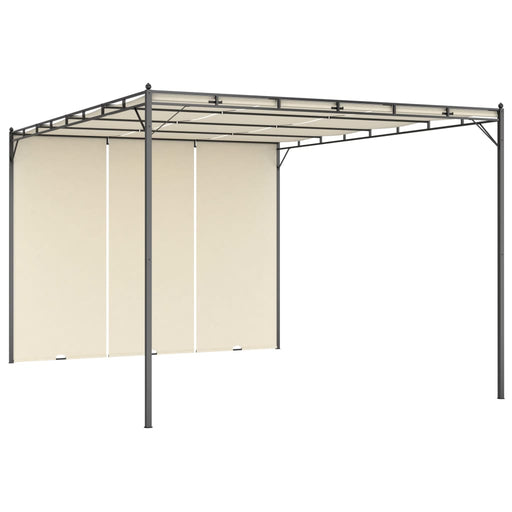 Garden Gazebo with Side Curtain 4x3x2.25 m Cream