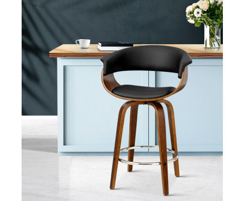 Bar Stool with Fluid Curved Back rest and Wide Leather Padded Armrest