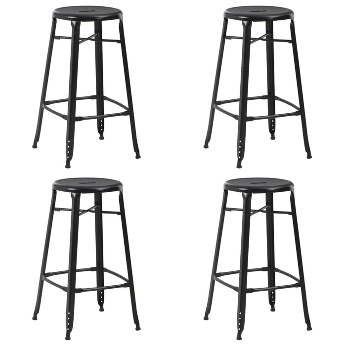 Bar Stools 4 pcs Black Steel