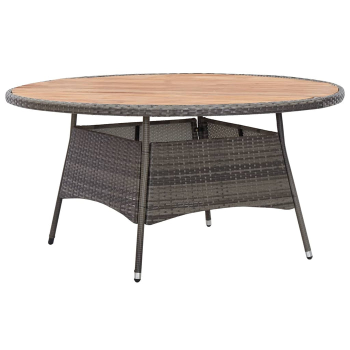 Garden Table Grey 150x74 cm Poly Rattan and Acacia Wood