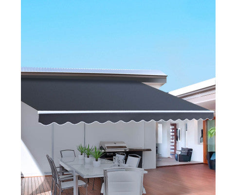 Retractable Outdoor Arm Awning 2 x 1.5 m Grey