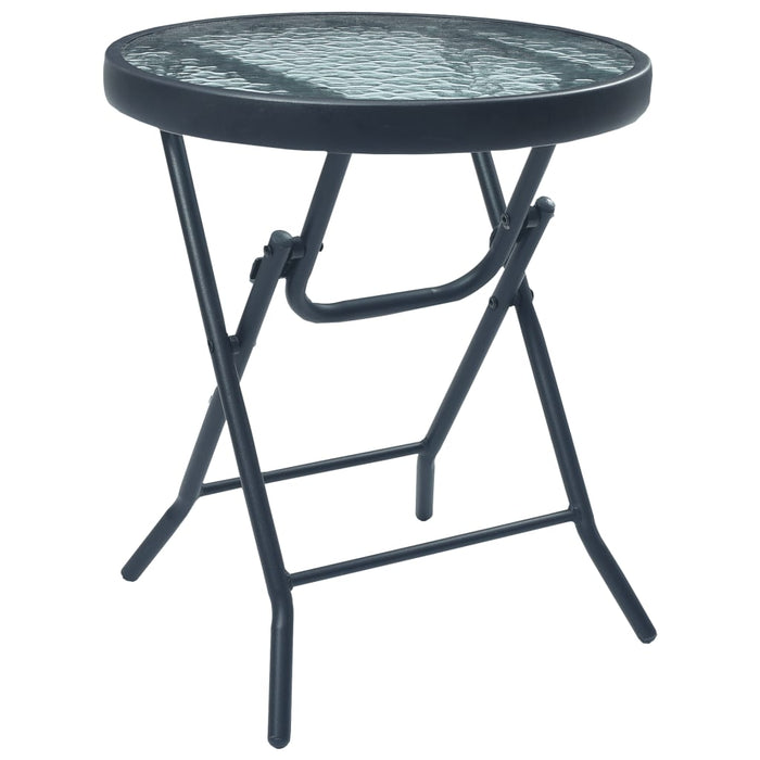 Bistro Table Black 40x46 cm Steel and Glass
