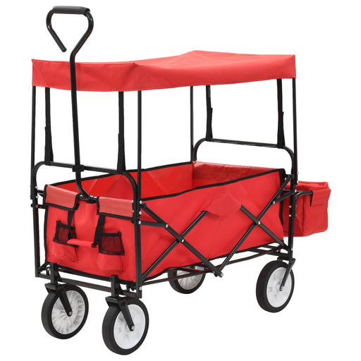Folding Hand Trolley with Canopy Steel Red