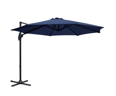 3M Roma Outdoor Furniture Garden Umbrella 360 Degree Navy, Garden Umbrella