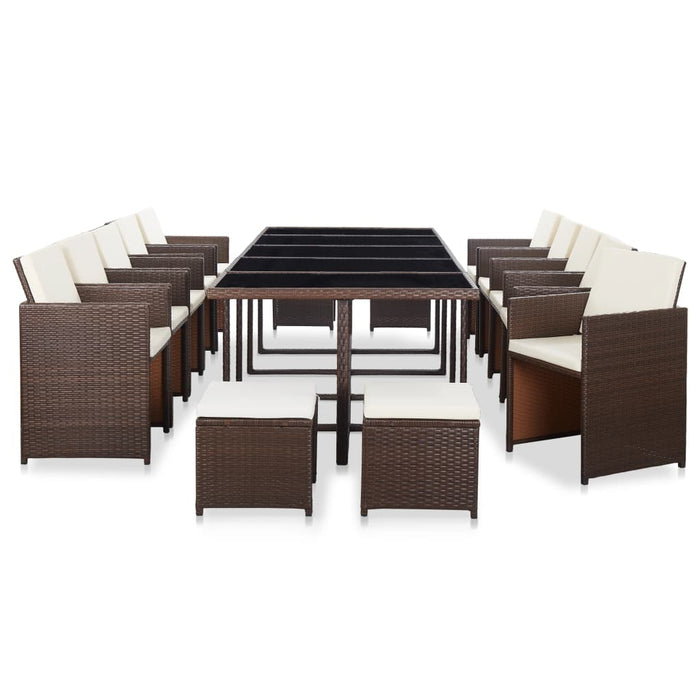 15 Piece Outdoor Dining Set with Cushions Poly Rattan Brown