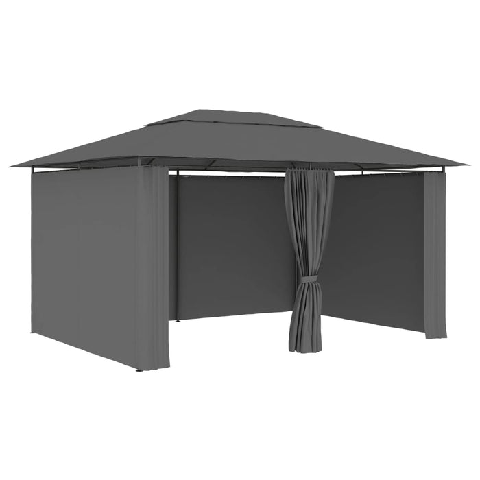 Garden Marquee with Curtains 4x3 m Anthracite, Outdoor Gazebo, Gazebo Tent, Party Tent, BBQ Tent