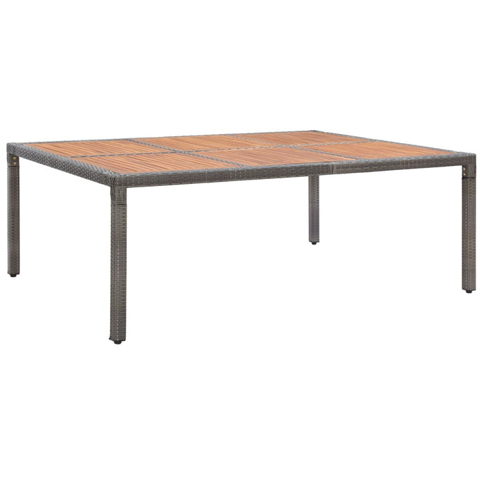 Garden Table Grey 200x150x74 cm Poly Rattan and Acacia Wood
