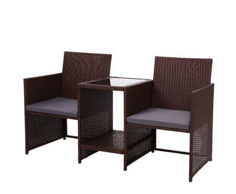Outdoor Setting Wicker Loveseat Birstro Set Patio Garden Furniture Brown, Outdoor Furniture Set