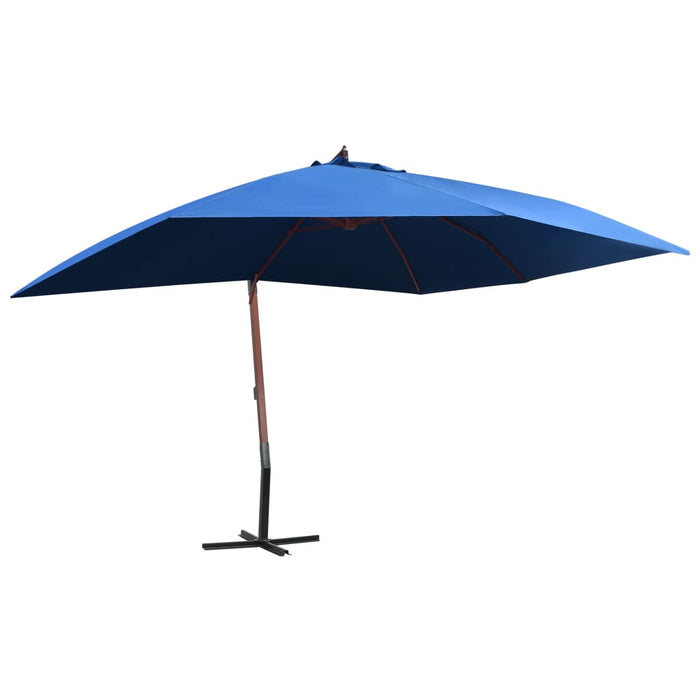 Hanging Parasol with Wooden Pole 400x300 cm Blue, Parasol Umbrella, Garden Umbrella, Outdoor Umbrella