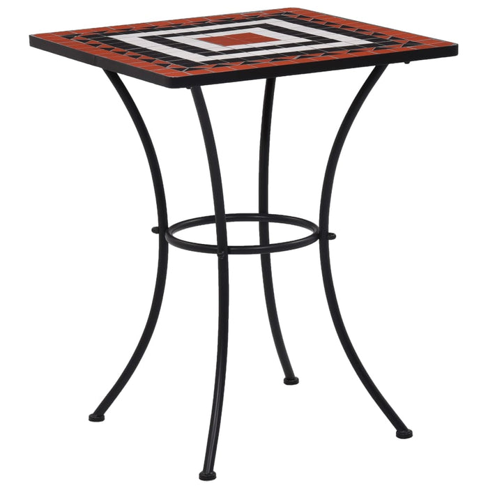 Mosaic Bistro Table Terracotta and White 60 cm Ceramic