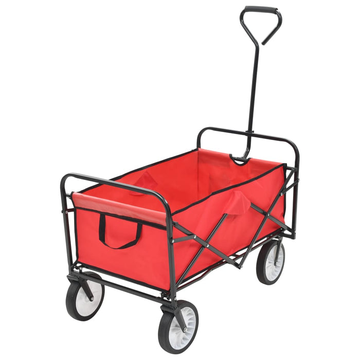 Folding Hand Trolley Steel Red, Garden Trolley