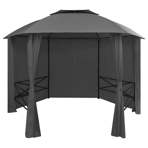 Garden Marquee Pavilion Tent with Curtains Hexagonal 360x265 cm