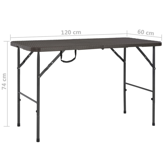 Folding Garden Table HDPE Brown Rattan Look