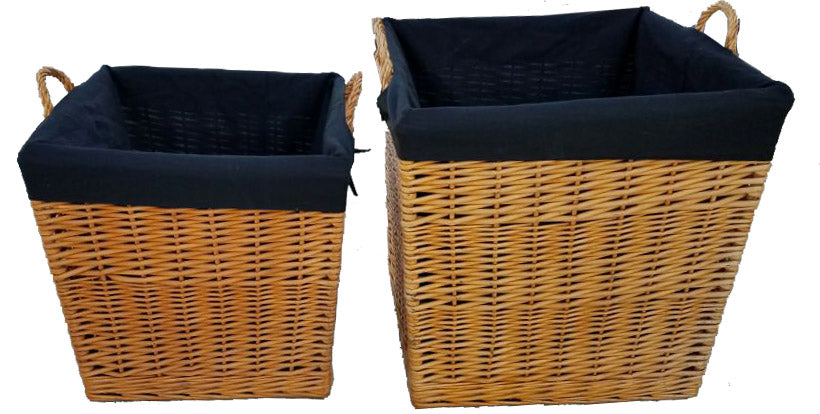 Wicker Baskets (Large&XLarge) - Natural Honey, Set of 2, Wood Carrier, Outdoor Wood Container, Wood Basket Set