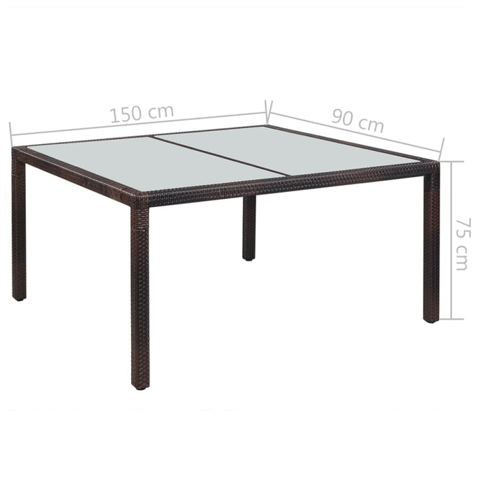 Outdoor Dining Table Poly Rattan 150x90x75 cm Brown