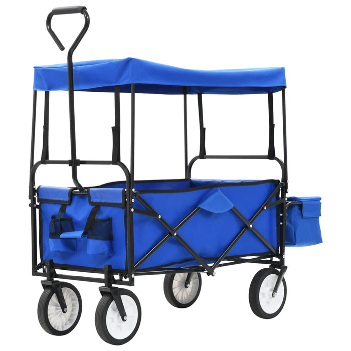 Folding Hand Trolley with Canopy Steel Blue, Garden Trolley