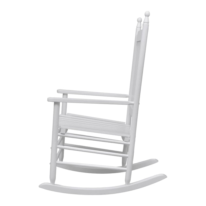 Rocking Chair with Curved Seat White Wood
