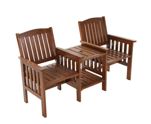 Garden Bench Chair Table Loveseat Wooden Outdoor Furniture Patio Park Brown, Outdoor Furniture Set