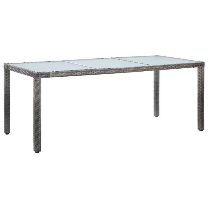 Garden Table Grey 190x90x75 cm Poly Rattan